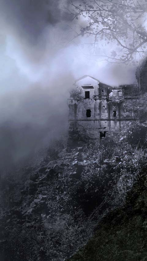 ruins grey dark foggy wallpaper background phone