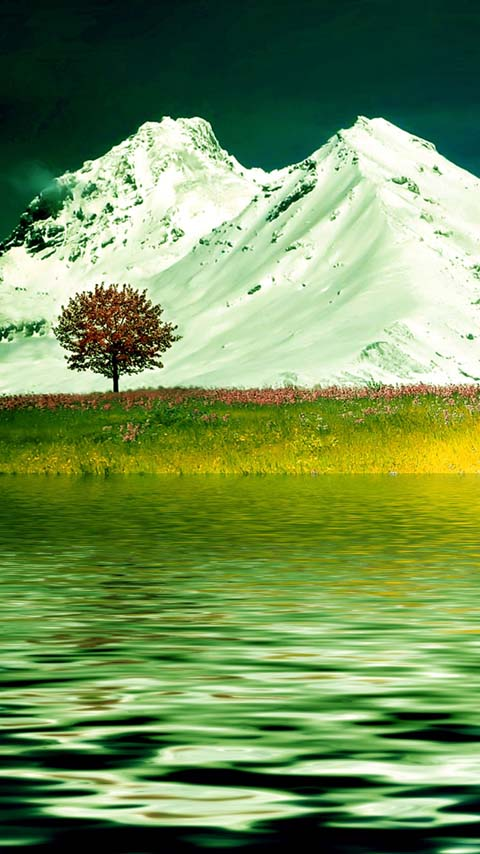 twin peaks green mountains lake wallpaper background phone