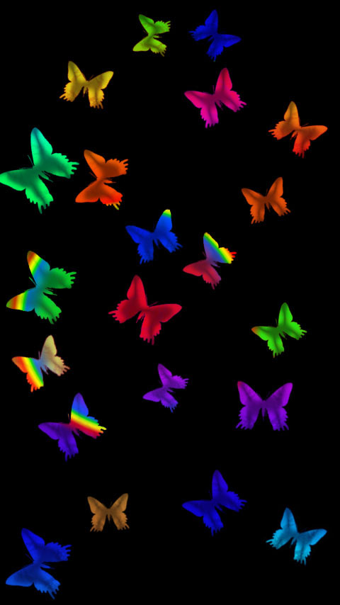 glass butterflies colorful black dark wallpaper background phone