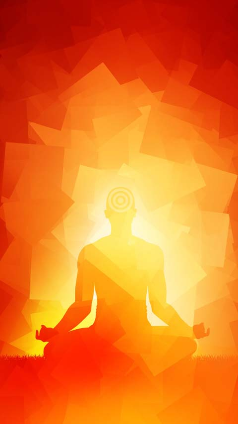 meditation yoga fire orange yellow background phone wallpaper