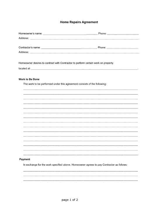 home repairs agreement free contractor landlord tenant form pdf printable