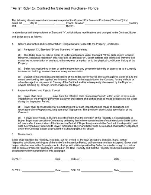 as is rider to contract for sale and purchase Florida free printable form