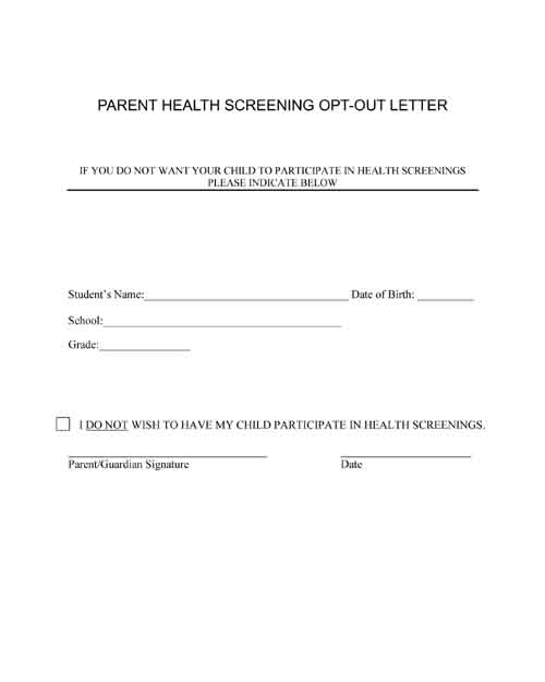 health screening opt-out letter free pdf printable form