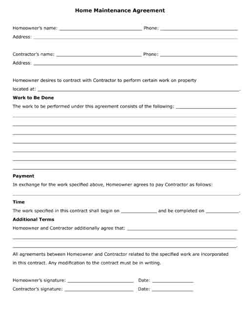 home maintenance agreement work to be done free printable pdf form