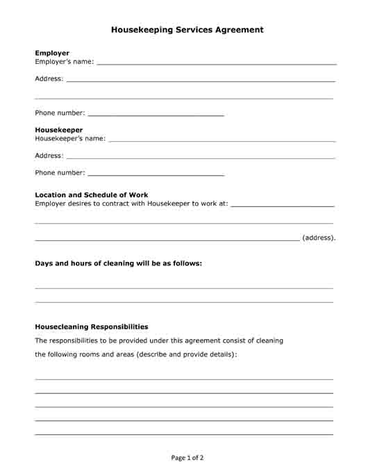Housekeeping Services Agreement PRINTABLES