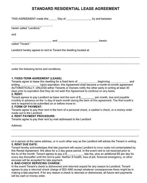 standard residential lease agreement free printable pdf format form