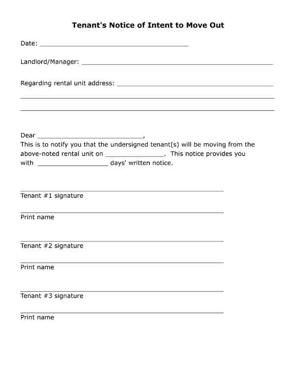 notice of intent to move out free printable form