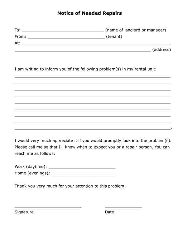 notice of needed repairs free pdf printable format letter