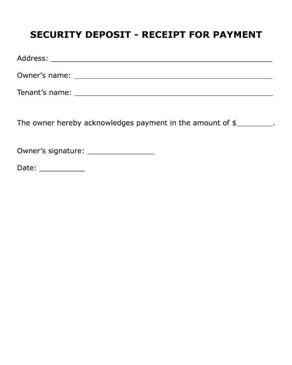 security deposit receipt for payment free pdf printable